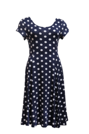 LEEZZA  summer dress navy white jersey  POLKA DOTS style IBIZA