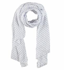 A-zone sjaal wit met middenblauw hartje, batist katoen/zijde 70x150cm