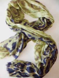 ROMANO scarf animal print lime anthracite viscose, 110 x 200 cm