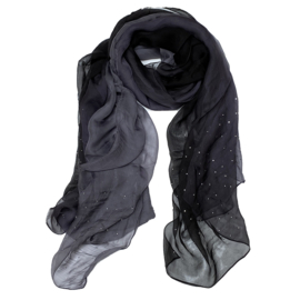 A-zone sjaal degrade voile grijs zwart met strass