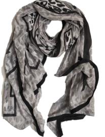 A-zone sjaal HEY GIRL grijs zwart
