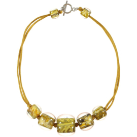 ZSISKA necklace yellow ochre marble 5 BALL'S