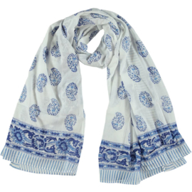 Otra Cosa Scarf with blue block/white  print scarf paisley, 100 x 200 cotton