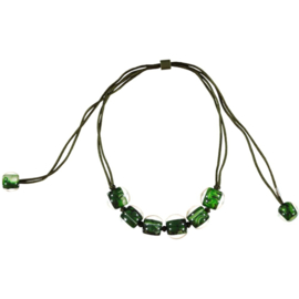 ZSISKA ketting groen bottle gemarmerd. BALL'S. Clarity