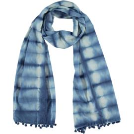 LEEZZA scarf tie & dye blue white
