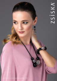 ZSISKA necklace pink dusty brown, double beads. CELESTE