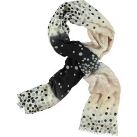 LEEZZA sjaal stippen zwart offwhite beige, voile. 80x180cm