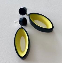 ZSISKA oorbellen geel zwart BLACK OUT.