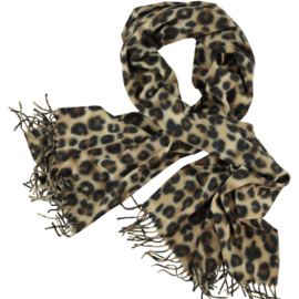 Winter scarf leopard print abstract, classic beige design. 750x 180cm