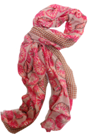 Sjaal bloem ruit roze