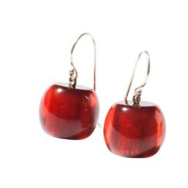 ZSISKA oorbellen rood donker COLOURFUL BEADS