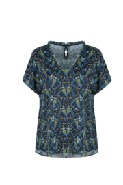 C&S top met zomerse print navy RIVA