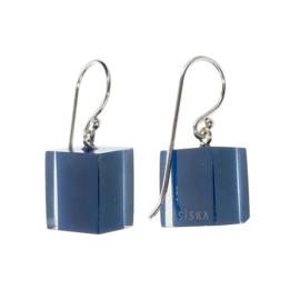 ZSISKA oorbellen blauw  navy CUBES
