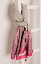 Jo Edwards scarf  pink grey cotton jacquard