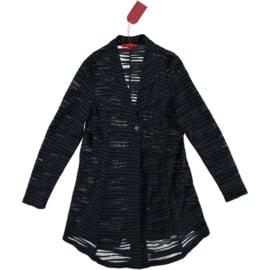 VETONO vestje navy rib jersey deels transparant