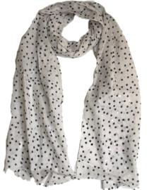 A-zone sjaal wit zwarte en zilver stipjes