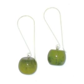 ZSISKA oorbellen groen olijf gemarmerd BALL'S