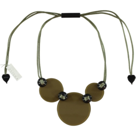 ZSISKA necklace green khaki, 3  flat beads. LEAH