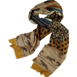 Scarf camel leopard print with polkadots, 80 190cm
