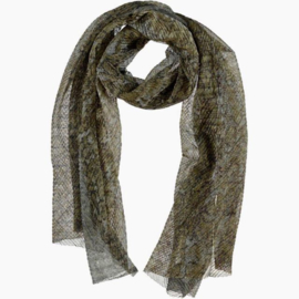 Sjaal reptielprint grijs khaky zilver lurex , 45 x 200 cm