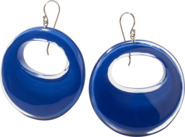 ZSISKA oorbellen blauw kobalt rond ELEMENTAL
