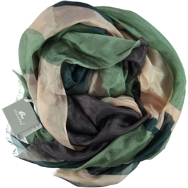 AHMADDY sjaal groen roze print 100% zijde 80 x 180 cm