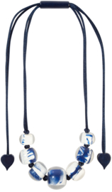 ZSISKA necklace white blue, 14 beads. BALLS DELFT