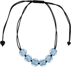 ZSISKA ketting bleu 6 kralen COLOURFUL BEADS