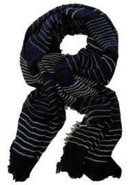 ROMANO sjaal zwart grijs streep