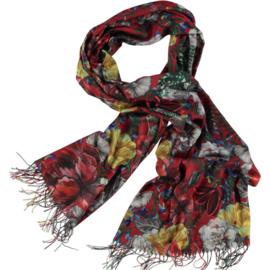 Wintersjaal rood bedrukt met klassieke bloem dessin. Double face. 80x180cm