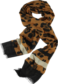 Scarf brown spot print on tobacco base with black accents. Herringbone -80 x 190cm