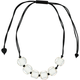 ZSISKA necklace white  6 beads BALL'S