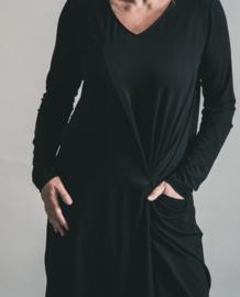 ELSEWHERE jurkje zwart, plooi detail voor, viscose jersey. STYLE 3169