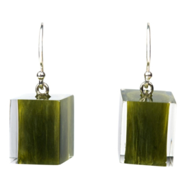ZSISKA earrings green olive marble  CUBES