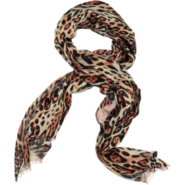 ROMANO animal print scarf viscose basic peach, 52 x 180cm