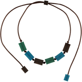 ZSISKA necklace green blue brown CUBES
