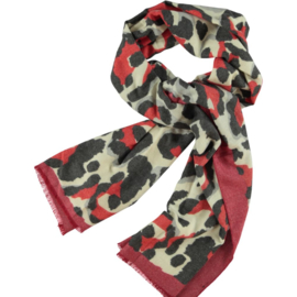 Winter scarf reds  & antraciet abstract print, brushed flannel. 75 x 180cm
