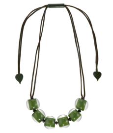 ZSISKA ketting groen olijf 6 kralen COLOURFUL BEADS