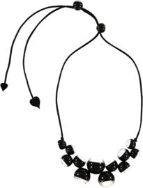 ZSISKA ketting zwart transparant zilver BOLAS CHIC.