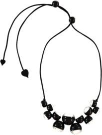 ZSISKA necklace silver on black transparant 14 beads  BOLAS chic