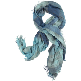 My Clou scarf check woven blue grey, 90x200cm