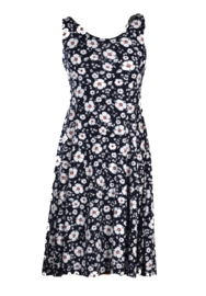 AD NICE dark navy white summer dress with flower print.  Style IBIZA