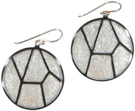 ZSISKA earrings silver black , 30mm Mozaïek