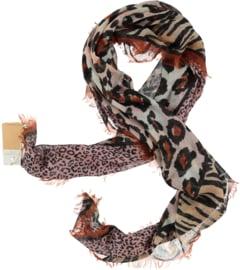 A-zone sjaal patchwork van 4 tijgerprints 120 x 120 cm