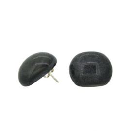 ZSISKA oorbellen zwart knopje matte finish  COLOURFUL BEADS.