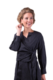 ELSEWHERE wikkel blouse -  zwart block