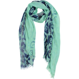 ROMANO scarf animal print mint navy, viscose 110 x 200cm