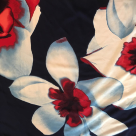 STELLA MORGAN dark navy red white jersey summer dress with flower print  Style IBIZA