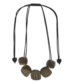 ZSISKA necklace black gold striped, 5 beads. MIRAGE