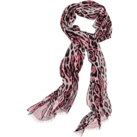 ROMANO animal print scarf viscose basic pink, 52 x 180cm